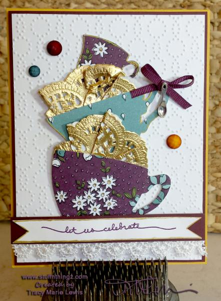 Stamp A Stack Card #5 - Tea Cups My Version   www.stuffnthingz.com
