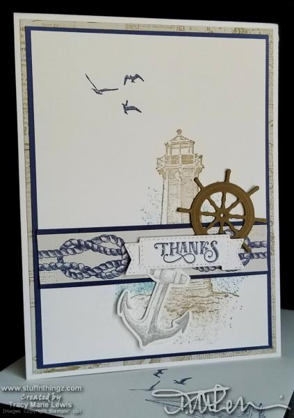 Clean Lighthouse Thanks Card | Tracy Marie Lewis | www.stuffnthingz.com
