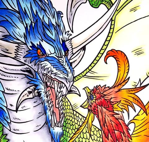 Copic Coloring Project - Dragon vs. Phoenix Close Up  Tracy Marie Lewis   www.stuffnthingz.com