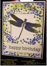 Blue and Green Dragonfly Card | Tracy Marie Lewis | www.stuffnthingz.com