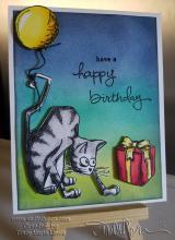 Crazy Cat Birthday Yellow Balloon   www.stuffnthingz.com