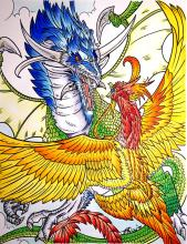 Copic Coloring Project - Dragon vs. Phoenix | Tracy Marie Lewis | www.stuffnthingz.com