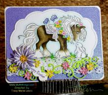 Happy Easter Summer Pony and Bunny Card | Tracy Marie Lewis | www.stuffnthingz.com