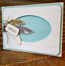 Wood and Clouds Feather Hello Card | Tracy Marie Lewis | www.stuffnthingz.com