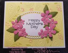 Mother's Day Pink Flowers Paisley Card | Tracy Marie Lewis | www.stuffnthingz.com
