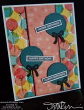 Round Balloons Happy Birthday Card | Tracy Marie Lewis | www.stuffnthingz.com