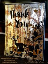 Woodland Foil Trees Thank You card | Tracy Marie Lewis | www.stuffnthingz.com