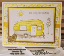 Hello Happy Camper Yellow Camping Card | Tracy Marie Lewis | www.stuffnthingz.com