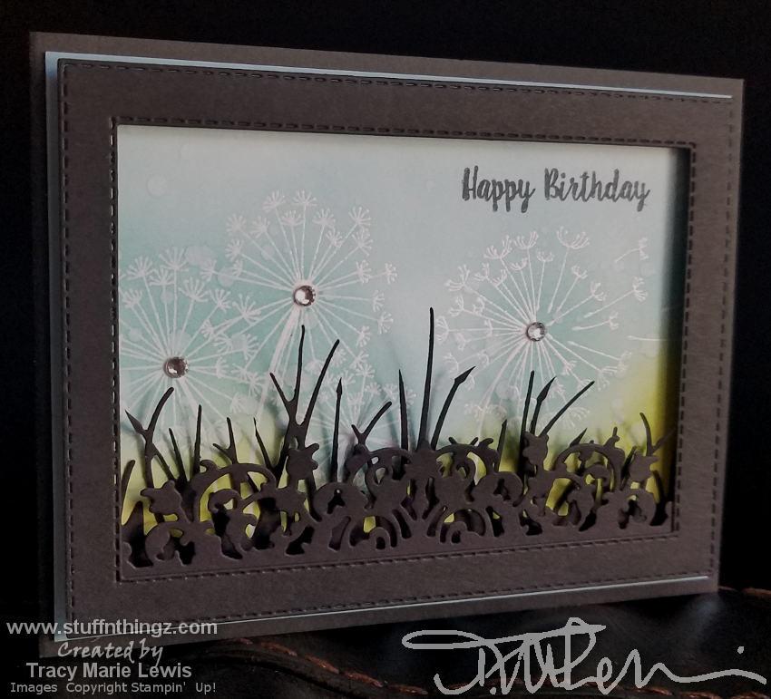 Black Grassy Birthday Card | Tracy Marie Lewis | www.stuffnthingz.com